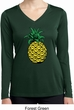 Distressed Pineapple Ladies Dry Wicking Long Sleeve Shirt