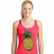 Distressed Pineapple Ladies Dry Wicking Racerback Tank Top