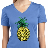 Distressed Pineapple Ladies Moisture Wicking V-neck Shirt