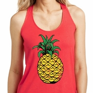 Distressed Pineapple Ladies Shimmer Loop Back Tank Top