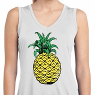 Distressed Pineapple Ladies Sleeveless Moisture Wicking Shirt