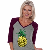 Distressed Pineapple Ladies Three Quarter Sleeve V-Neck Raglan Shirt