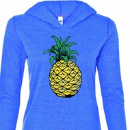 Distressed Pineapple Ladies Tri Blend Hoodie Shirt