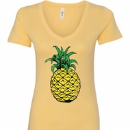 Distressed Pineapple Ladies V-Neck Shirt