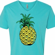 Distressed Pineapple Mens V-Neck Shirt