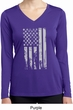 Distressed Stars and Stripes Flag Ladies Dry Wicking Long Sleeve Shirt