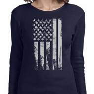 Distressed Stars and Stripes Flag Ladies Long Sleeve Shirt