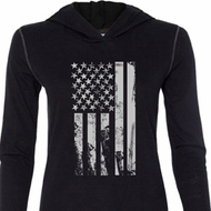 Distressed Stars and Stripes Flag Ladies Tri Blend Hoodie Shirt