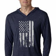 Distressed Stars and Stripes Flag Lightweight Hoodie Shirt