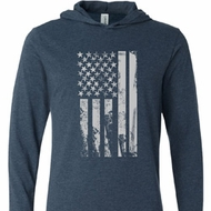 Distressed Stars and Stripes Flag Lightweight Hoodie Tee