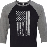 Distressed Stars and Stripes Flag Mens Raglan Shirt