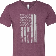 Distressed Stars and Stripes Flag Mens Tri Blend V-neck Shirt