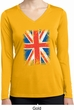 Distressed Union Jack Flag Ladies Dry Wicking Long Sleeve Shirt
