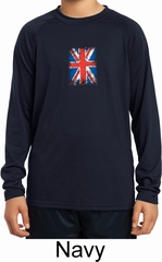 Distressed Union Jack Flag Small Print Kids Dry Wicking Long Sleeve