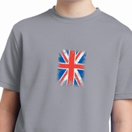Distressed Union Jack Flag Small Print Kids Moisture Wicking Shirt