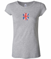 Distressed Union Jack Flag Small Print Ladies Shirts