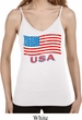 Distressed USA Flag Ladies Built in Bra Tank Top
