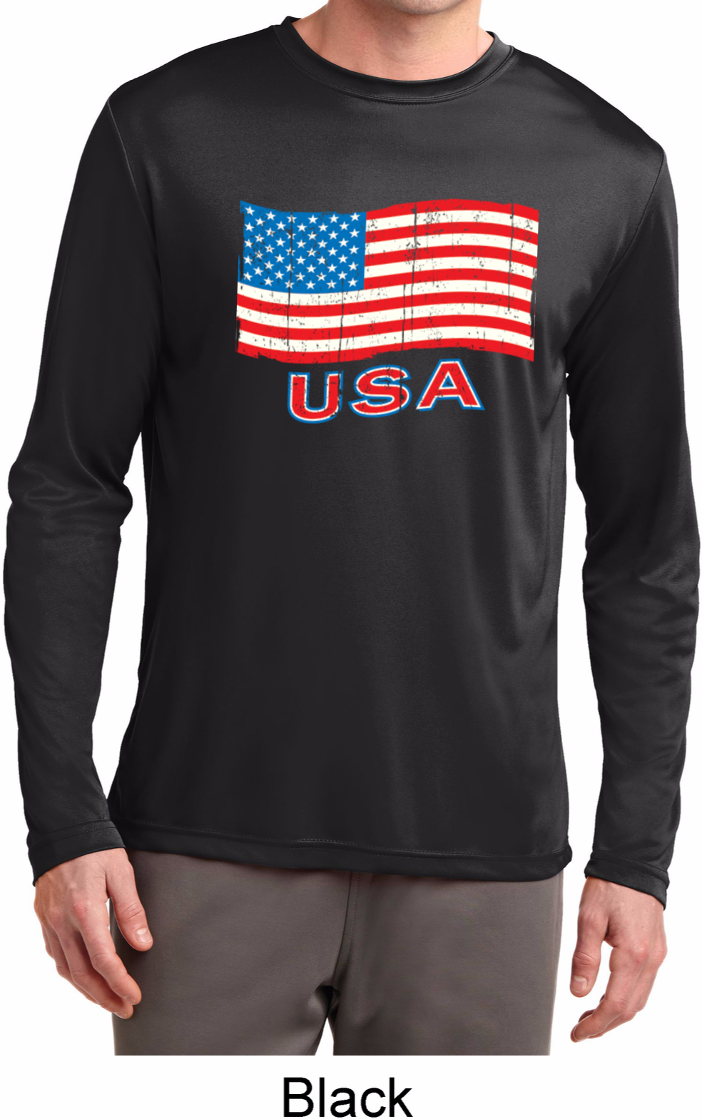 Distressed usa flag mens dry wicking long sleeve shirt for Long sleeve cooling mens shirts