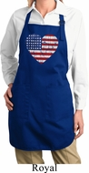 Distressed USA Heart Full Length Apron with Pockets