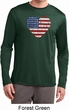 Distressed USA Heart Mens Dry Wicking Long Sleeve Shirt