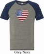 Distressed USA Heart Mens Tri Blend Shirt
