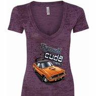 Dodge 1970 Plymouth Hemi Cuda Ladies Burnout V-neck Shirt