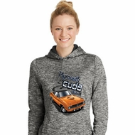 Dodge 1970 Plymouth Hemi Cuda Ladies Moisture Wicking Hoodie