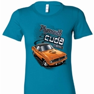 Dodge 1970 Plymouth Hemi Cuda Ladies Shirts