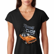 Dodge 1970 Plymouth Hemi Cuda Ladies Tri Blend V-Neck Shirt