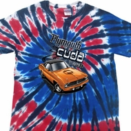 Dodge 1970 Plymouth Hemi Cuda Patriotic Tie Dye Shirt