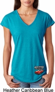 Dodge American Made Muscle Bottom Print Ladies Tri Blend V-Neck Shirt
