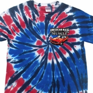 Dodge American Made Muscle Pocket Print Patriotic Tie Dye Shirt