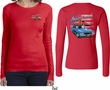 Dodge American Muscle Blue and Red (Front & Back) Ladies Long Sleeve