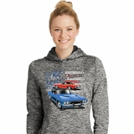 Dodge American Muscle Blue and Red Ladies Moisture Wicking Hoodie