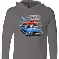 Dodge American Muscle Blue and Red Lightweight Hoodie Tee