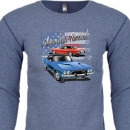 Dodge American Muscle Blue and Red Long Sleeve Thermal Shirt