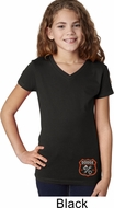 Dodge Garage Bottom Print Girls V-Neck Shirt