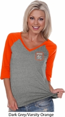 Dodge Garage Pocket Print Ladies Three Quarter Sleeve V-Neck Shirt