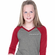 Dodge Logo Pocket Print Girls Three Quarter Sleeve V-Neck Shirt
