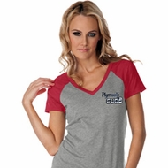Dodge Plymouth Cuda Pocket Print Ladies Contrast V-Neck Shirt