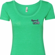 Dodge Plymouth Cuda Pocket Print Ladies Scoop Neck Shirt
