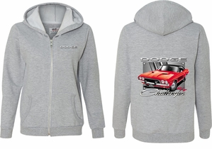 Dodge Red Challenger (Front & Back) Ladies Full Zip Hoodie