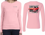 Dodge Red Challenger (Front & Back) Ladies Long Sleeve