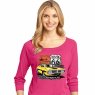Dodge Route 66 Charger RT Ladies Three Quarter Sleeve Shirt