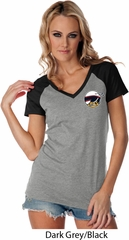 Dodge Scat Pack Logo Pocket Print Ladies Contrast V-Neck Shirt