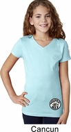 Dodge Super Bee Circle Logo Bottom Print Girls V-Neck Shirt