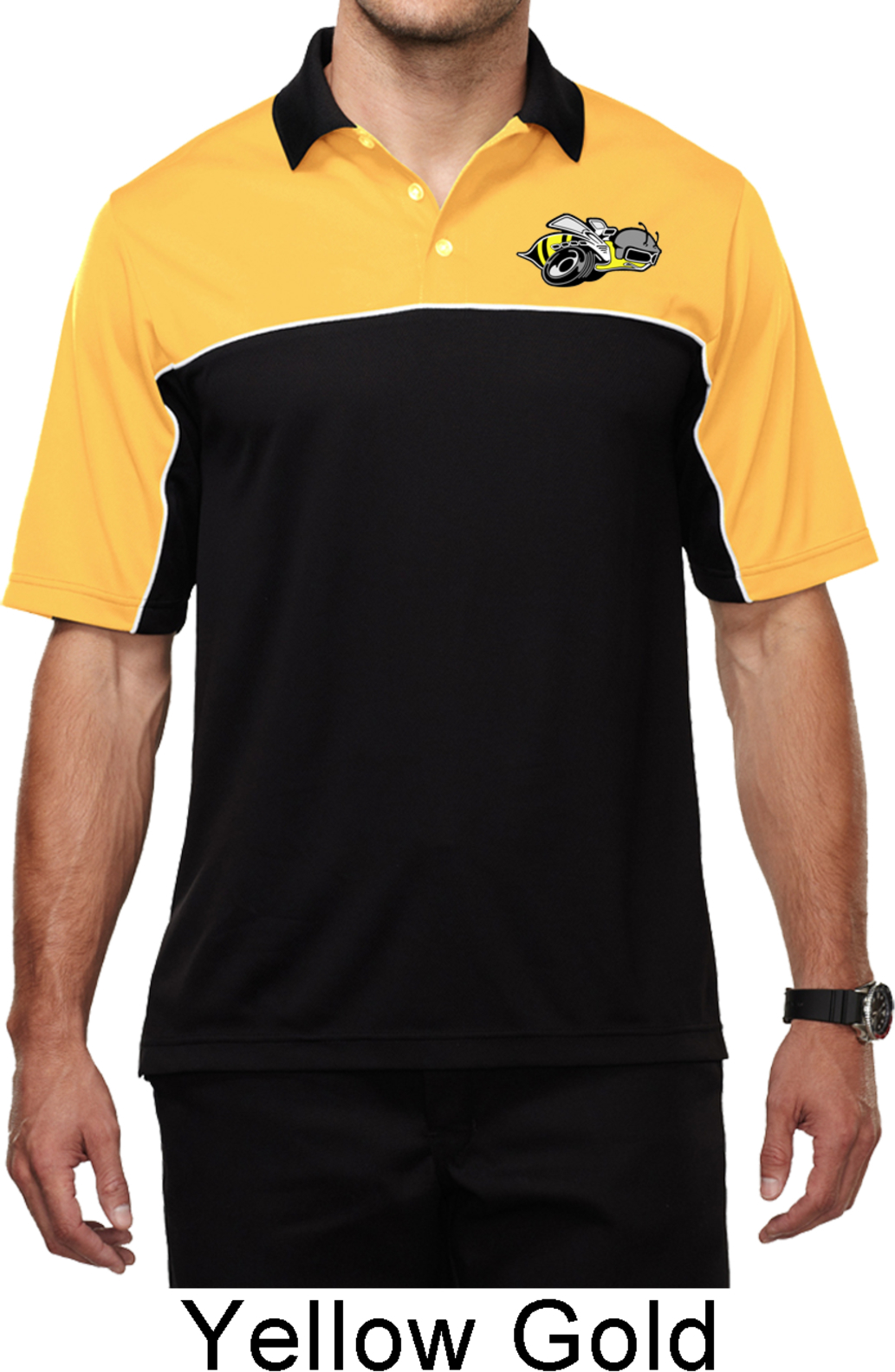 174c784220 Dodge Super Bee Logo Pocket Print Mens Yellow Gold Polo .