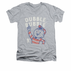 Double Bubble Shirt Slim Fit V-Neck Pointing Athletic Heather T-Shirt