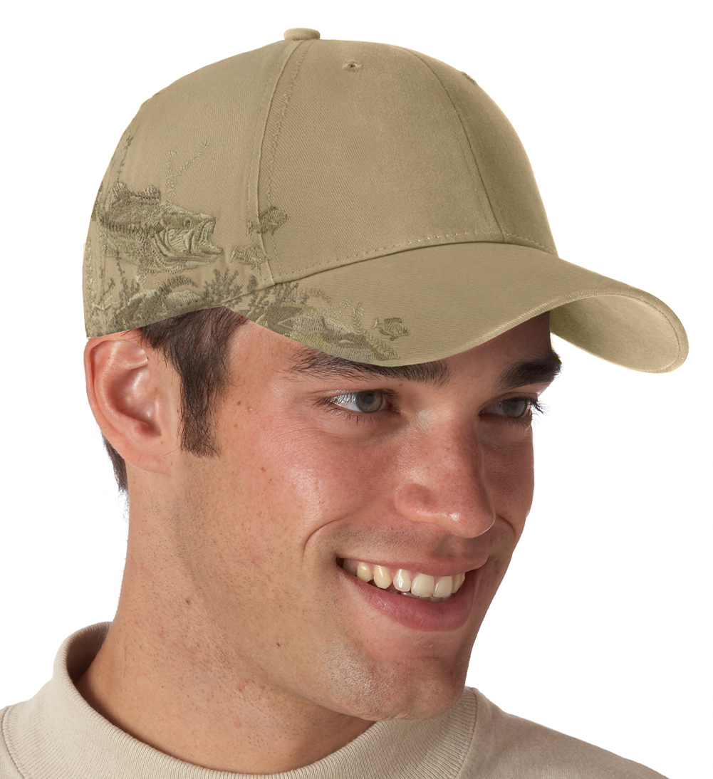 Dri duck bass fishing hat sand color camouflage hats for Fishing apparel hats