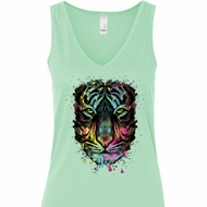 Dripping Neon Tiger Ladies Flowy V-neck Tanktop